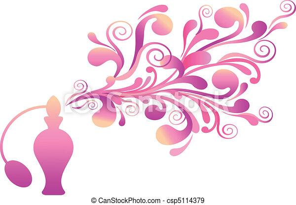floral, odeur, bouteille, parfum - csp5114379
