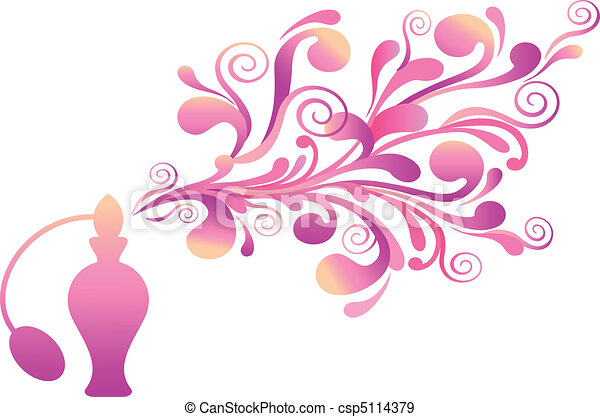 floral, olor, botella, perfume - csp5114379