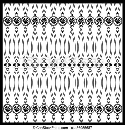 floral, oosters, black , vrijstaand, naad - csp36955687