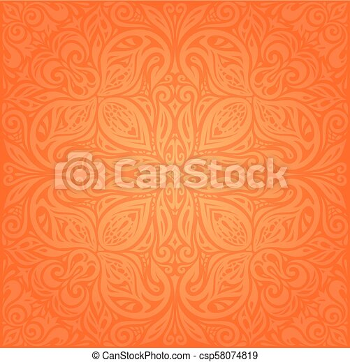Floral Orange Retro Style Colorful Wallpaper Mandala Background