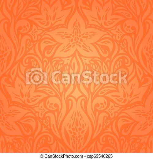 Floral Orange Retro wallpaper background - csp63540265