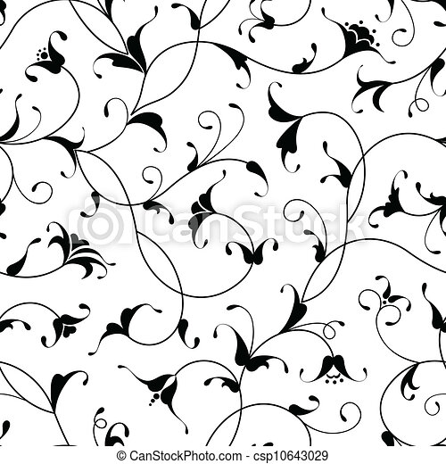 floral oriental black isolated seamless background - csp10643029