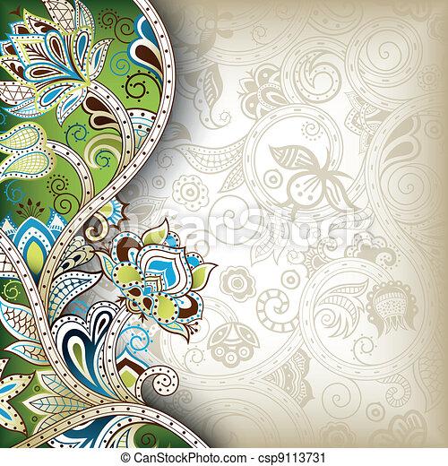 floral, oriental, fond - csp9113731