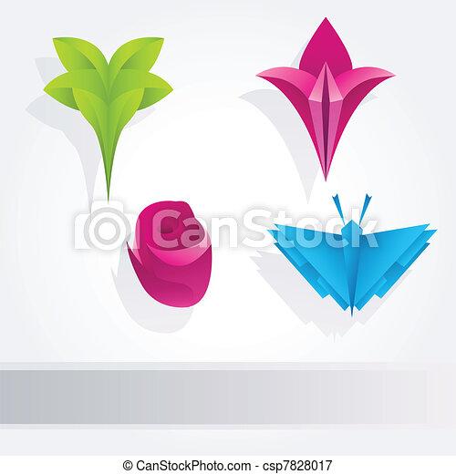 Floral Origami Design Elements Nature Floral Design Elements Set