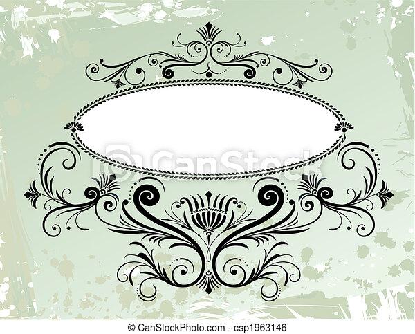 floral, ornament, frame, grunge, achtergrond - csp1963146