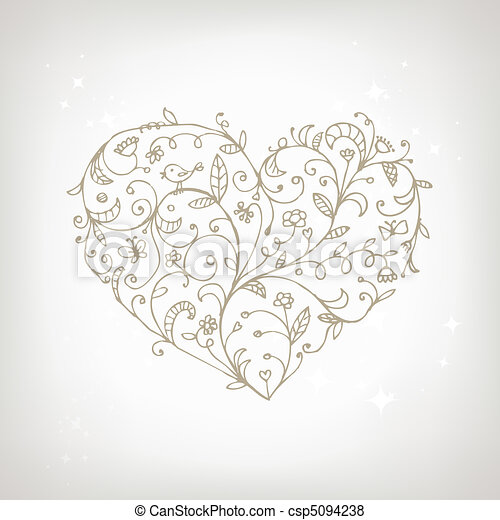 Floral ornament heart shape for your design - csp5094238
