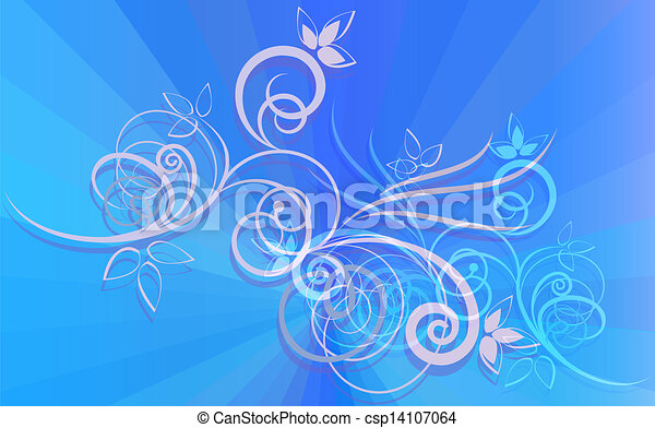 Floral ornament on blue rays background. - csp14107064