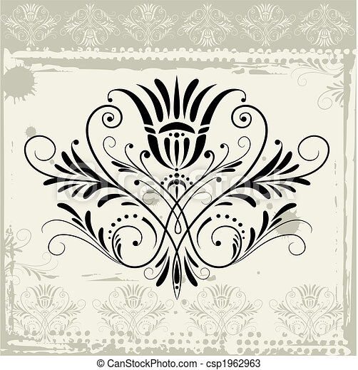 Floral Ornament On Grunge Background - csp1962963