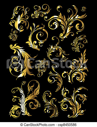 Floral Ornament Set of Vintage Golden Decoration Elements - csp8450586