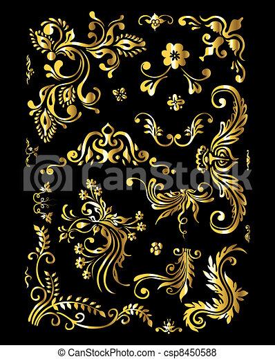 Floral Ornament Set of Vintage Golden Decoration Elements - csp8450588