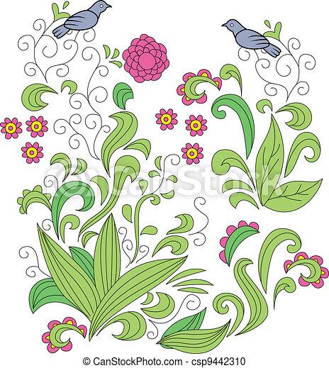 floral, ornament - csp9442310