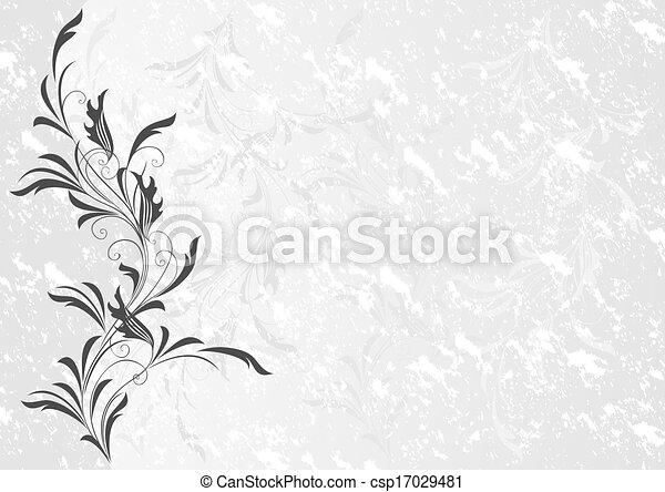 Floral ornament with grunge background - csp17029481