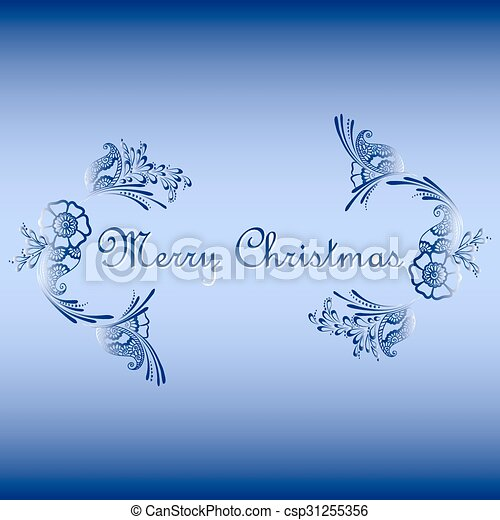floral ornament with Merry Christmas text - csp31255356