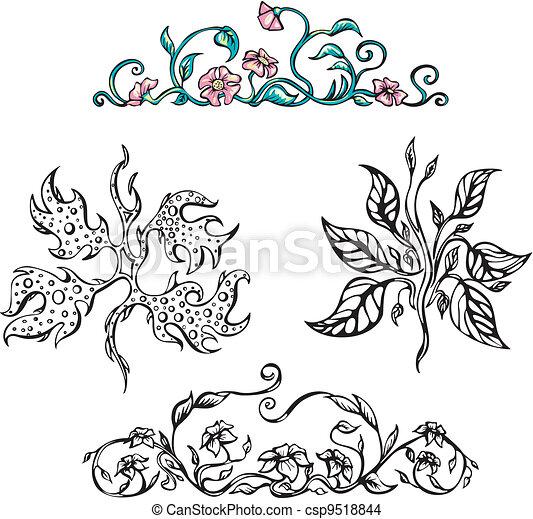 Floral ornamental patterns. Vector set - csp9518844