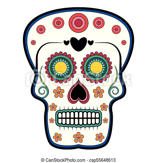 floral ornamente head skull day of the dead isolated vector rh canstockphoto ca day of the dead vector graphics day of the dead vector art