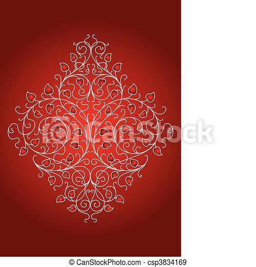 floral, ornamento, retro, (vector) - csp3834169