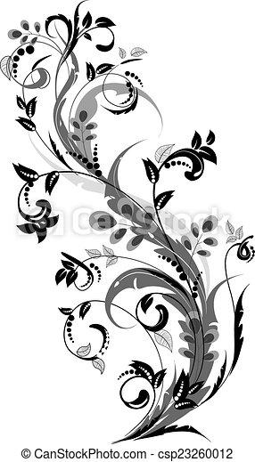 floral, ornement, conception, ton - csp23260012