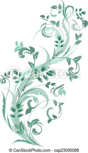floral, ornement, conception, ton - csp23095088
