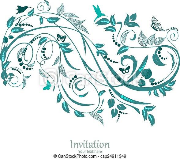 floral, ornement, conception, ton - csp24911349