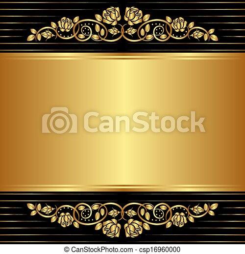 floral, ornements, noir, or, fond - csp16960000