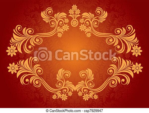 floral, ouderwetse , frame - csp7929947