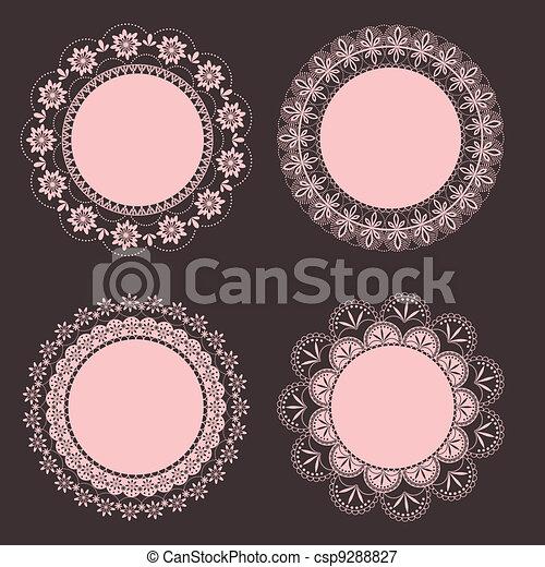 floral, ouderwetse , frame, set - csp9288827