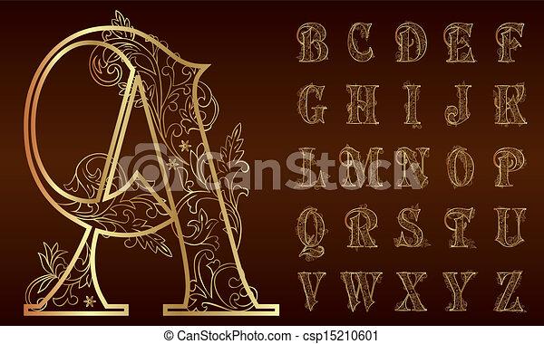 floral, ouderwetse , set, alfabet - csp15210601