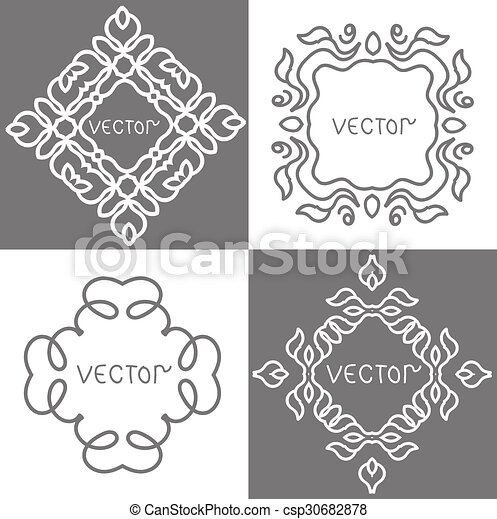 Floral outline frames and borders. vector mono line graphic design ...
