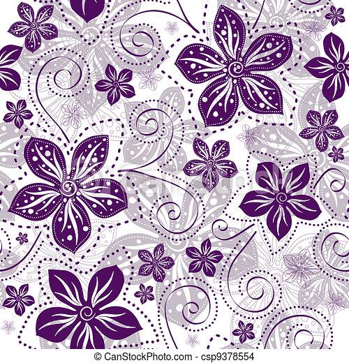 floral példa, seamless, white-violet - csp9378554