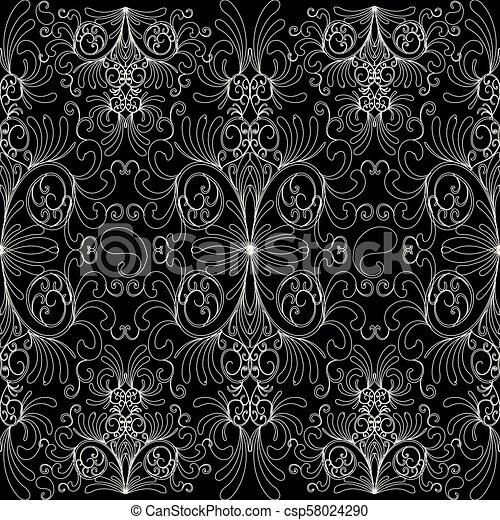 Floral Paisleys Seamless Pattern Floral Vintage Black White
