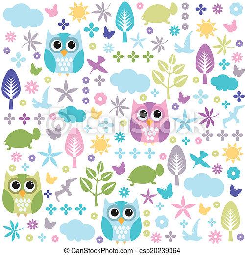 floral, papel parede, seamless, padrão - csp20239364