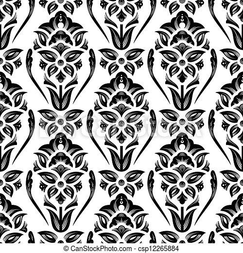Papel tapiz de damasco floral - csp12265884