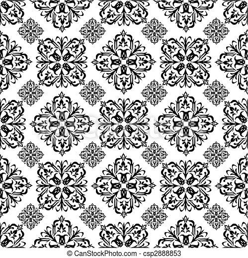 Vecteurs de floral papier peint noir mono papier peint seamless csp2888853 - Papier peint graphique noir et blanc ...