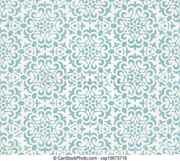 floral, papier peint, retro - csp15673718