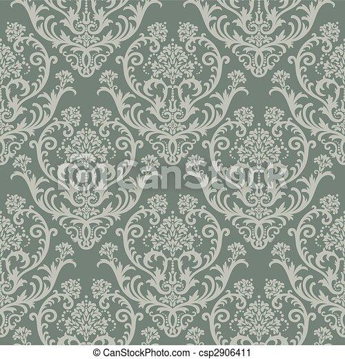 floral, papier peint, vert - csp2906411