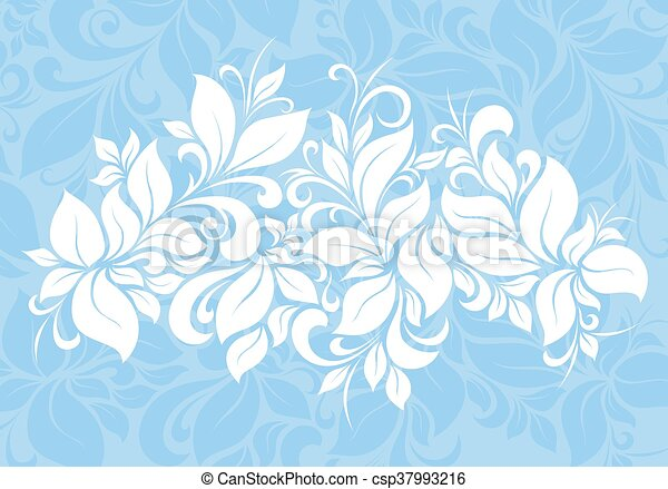Floral Pattern Background White On Blue