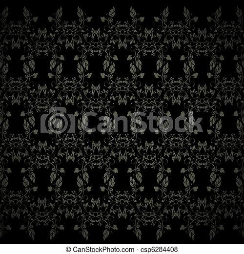 floral pattern on black - csp6284408