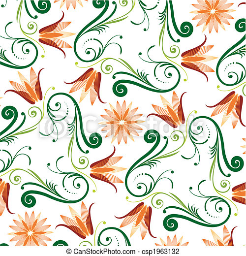 Floral Pattern On White Background - csp1963132