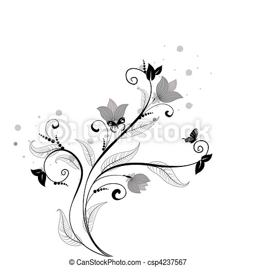 floral pattern with butterflies - csp4237567