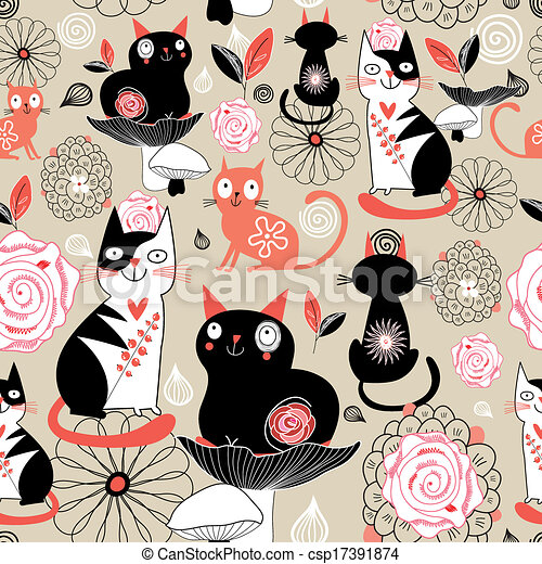Floral pattern with cats - csp17391874