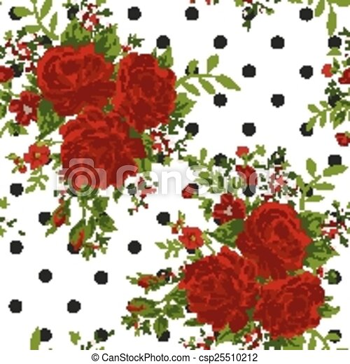 Floral Pattern With Of Red Roses On White Background