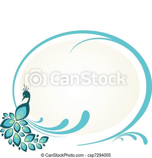 Ilustración de pavo real sentado en un marco floral - csp7294005