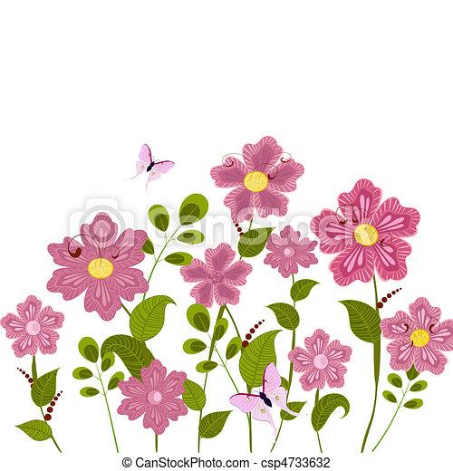 floral, pelouse, romantique - csp4733632