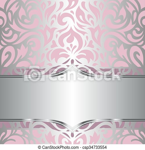Floral pink & silver wallpaper - csp34733554