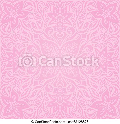 Floral Pink Vector Wallpaper Trendy Fashion Mandala Design Wedding Background