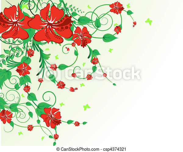 floral, plano de fondo - csp4374321
