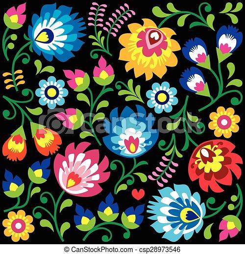 Floral Polish folk art pattern  - csp28973546
