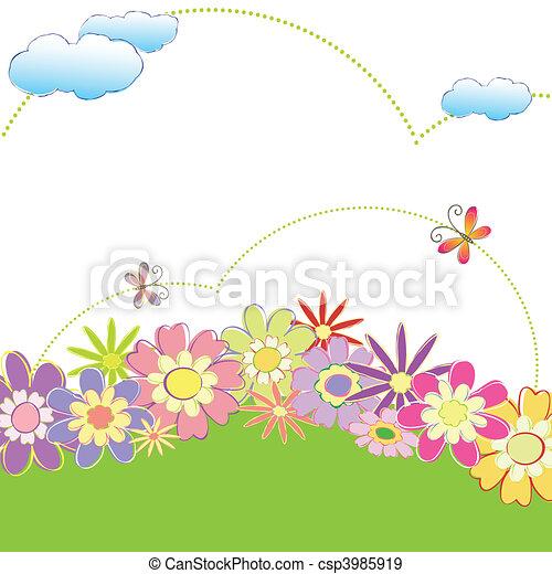 floral, primavera, borboleta, coloridos - csp3985919