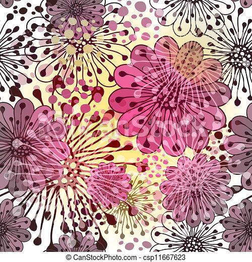 floral, printemps, seamless, modèle - csp11667623