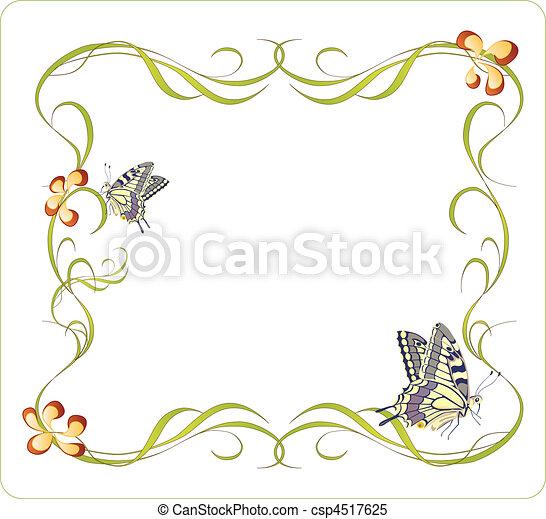 floral, quadro, borboletas - csp4517625